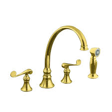 polished brass kitchen faucet kingston brass 2 handle standard kitchen faucet with side
