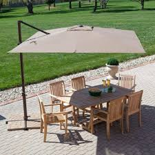 10 Foot Patio Umbrella 10 Foot Wide Rectangular Offset Patio Umbrella With Solar Lights
