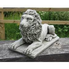 lion garden statue lion statue on plinth cast garden ornament patio home decor
