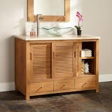 Hardwood Bathroom Vanities Cabinet Alluring Unfinished Oak Wood Bathroom Vanity Blue Bowl