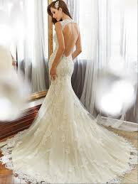 wedding dresses high spaghetti straps open back ivory lace mermaid wedding dresses
