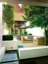 contemporary courtyard landscaping ideas with pond and pea gravel