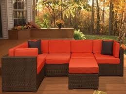 Outdoor Sofa Sectional Set Patio Sofa Wicker Sectional Furniture Couch Set Mixed Brown