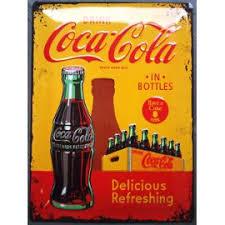 affiche deco cuisine plaque publicitaire bombé coca cola jaune bouteille usa deco loft