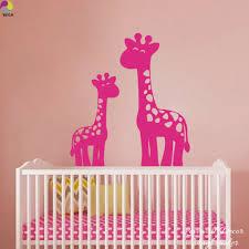stickers girafe chambre bébé bande dessinée 2 girafes mur autocollant bébé pépinière enfants
