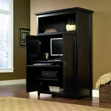 inspiring black computer armoire plus hutch on wooden floor and rug for home office decoration ideas sauder computer armoire plus desk