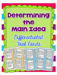 determining the main idea task cards and assessment option by