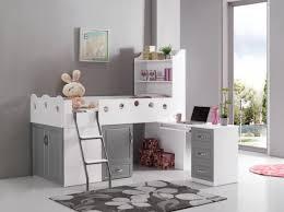 lit combiné bureau enfant lit multifonction enfant blanc et gris comforium chambre