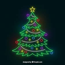 shiny tree out of neon lights vector free
