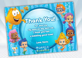 bubble guppies thank you card blue or pink