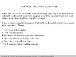 Cover Letter For Front Desk Position Front Desk Clerk Cover Letter