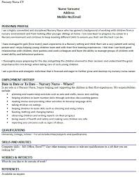 Example Of A Nursing Resume by Cv Example For A Nursery Nurse Lettercv Com