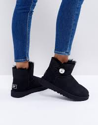 ugg sale asos lyst ugg mini bailey button bling boots in black