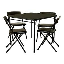 cosco 5 piece card table set black cosco 5 piece folding table and chair set black staples