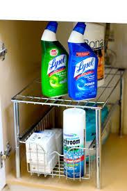 under kitchen sink storage ideas amazon com decobros stackable under sink cabinet sliding basket