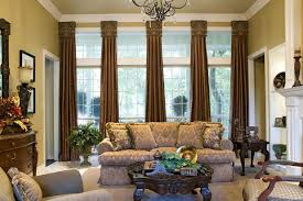 interior elegant living room curtains with dark brown color ideas