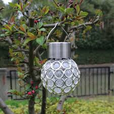 decorative hanging solar lights outdoor decorative crystal ball hanging light solar powered color