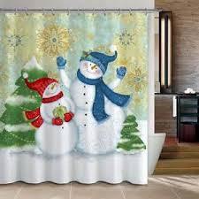 shower curtains snow snowman christmas decoration ideas bathroom