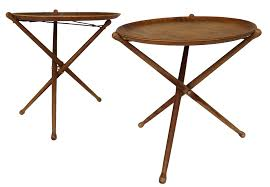 Collapsible Coffee Table by Danish Modern Nils Trautner Teak Folding Tray Side Tables Pair