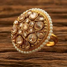 big stones rings images Rose gold big stones floral ring jpg