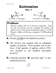 rounding estimation worksheets 3rd 4th 5th grade