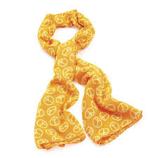 neon orange and yellow colour peace sign scarf pridals