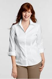 womens no iron blouses s original 3 4 sleeve no iron pinpoint split neck shirt from