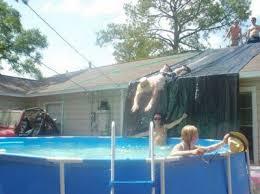 Backyard Slip N Slide Funny Picture Redneck Slip N Slide House Roof To Pool Pic