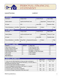personal financial statement ez landlord forms