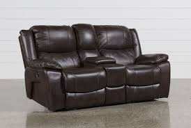 Leather Reclining Sofa With Console by Sampson Power Reclining Loveseat W Console Living Spaces