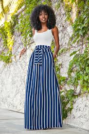 maxi skirt style pantry fitted tank vertical stripe maxi skirt