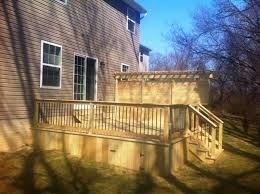 pressure treated deck with privacy wall in lancaster pa stump u0027s