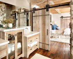 rustic bathroom makeovers ideas with addition of wooden sliding rustic bathroom makeovers ideas with addition of wooden sliding doors as divider of bathroom and bedroom complete with wooden vanity set and cabinets