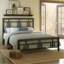 furniture rectangle black metal bed with grey pattern bedding bed