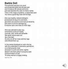 Barbie Doll Poem Questions