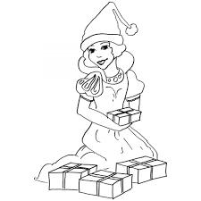 printable christmas snow white coloring sheet for kids