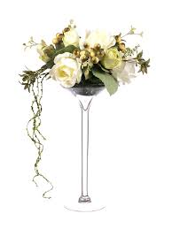 Martini Glass Vase Flower Arrangement Closer2nature 55cm Large Rose Display In Tall Martini Glass Vase