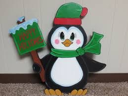 Outdoor Wood Decor Christmas Penguin With Happy Holidays Sign Wood By Chardoman