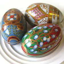 large easter eggs 3 large russian floral easter eggs new floral trinket metal tin