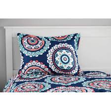 Mainstays Bedding Sets Mainstays Navy Medallion Bed In A Bag Twin Full Queen Comforter