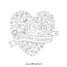 heart shaped tattoo vector free download