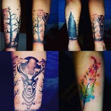great aqua deer and bird feather tattoo design ever goluputtar com