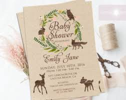 woodland baby shower invitations jadorepaperie on etsy