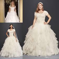 modest 2017 oleg cassini plus size organza a line wedding dresses