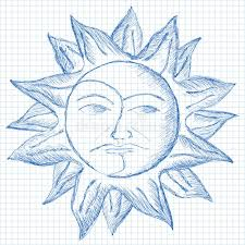 sun and moon face sketch stock illustration image 44876388
