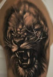 open mouth dangerous realistic 3d lion face tattoo golfian com