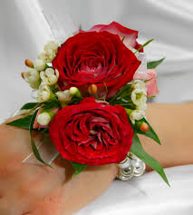 red and white wrist corsage soderbergs floral and gift