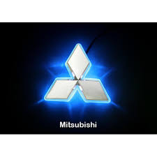 led car logo blue light auto rear emblem lamp for mitsubishi