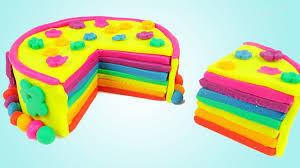 diy how to make play doh rainbow birthday cake art and craft for