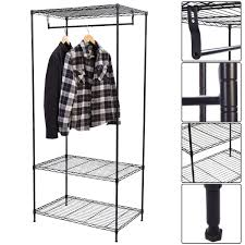 3 Shelf Wire Rack 3 Tier Clothing Garment Rack Hanger Shelving Wire Shelf Closet